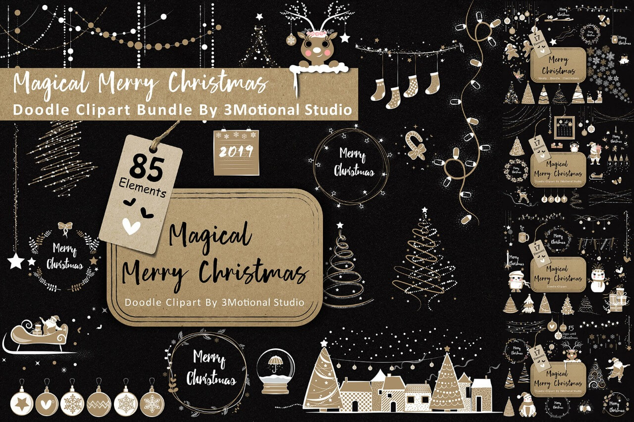Magical Merry Christmas Doodle Clipart Bundle