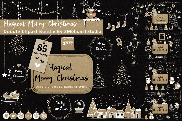 85 Magical Merry Christmas Doodle Cliparts Bundle illustrator Vector Ai