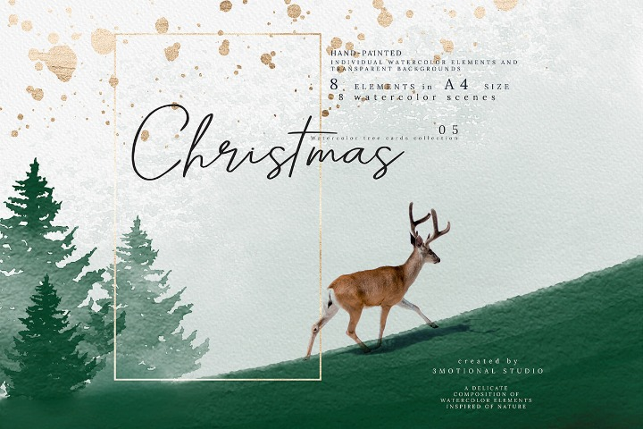 Christmas Watercolor cards collection PNGs Photoshop