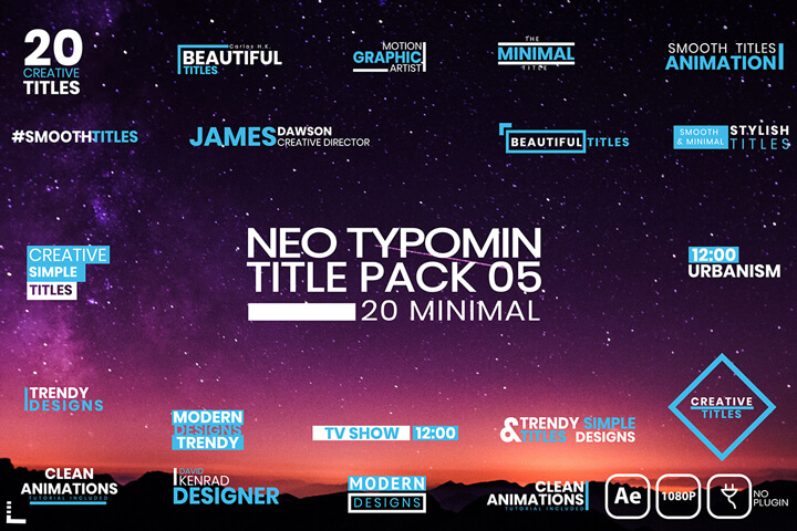 20 Typomin Title AfterEffects Text Typography