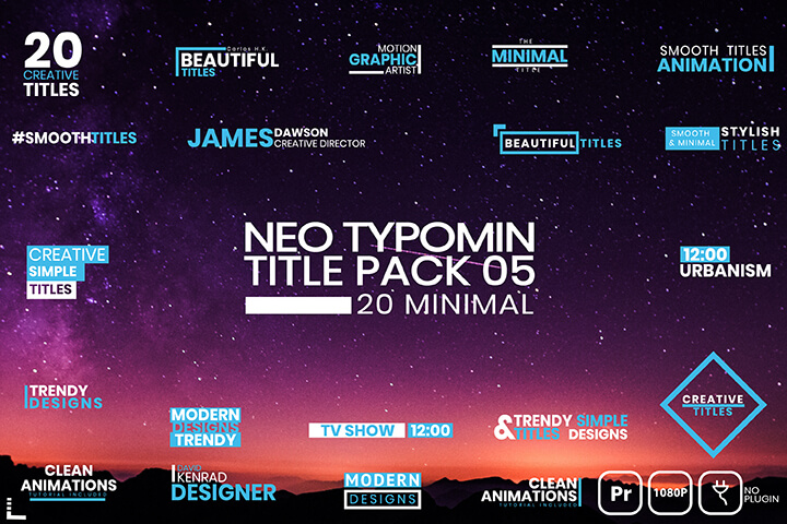 Typomin Title Pack Text Typography Premiere Pro MOGRT Motion Graphic Template