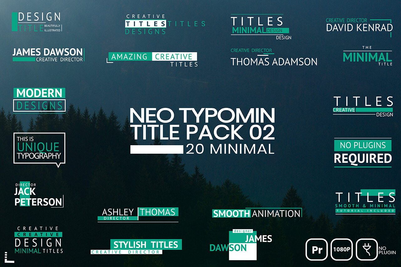 Neo Typomin Title MOGRT Pack 02