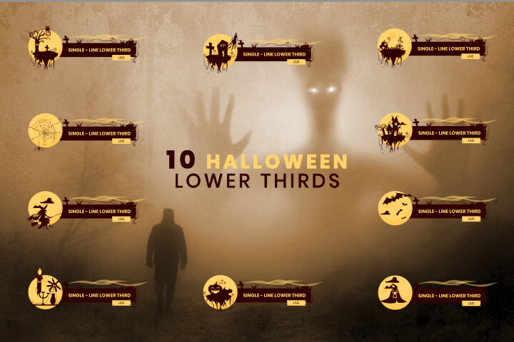 10 Halloween Lower Thirds Pack AfterEffect template