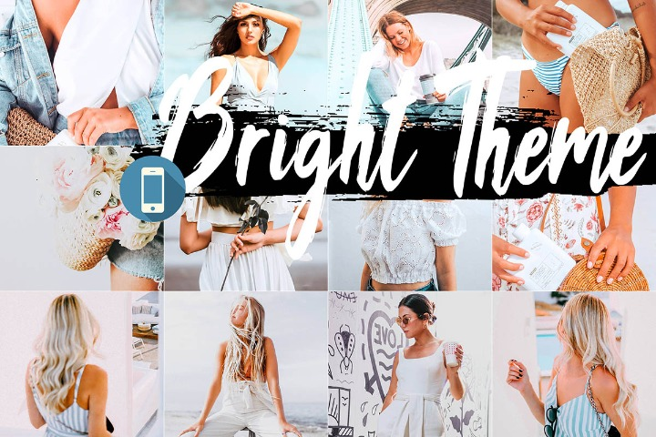 Bright Mobile Lightroom Presets, light filter white Adobe LR preset theme, photography modern Instagram editing blogger lifestyle