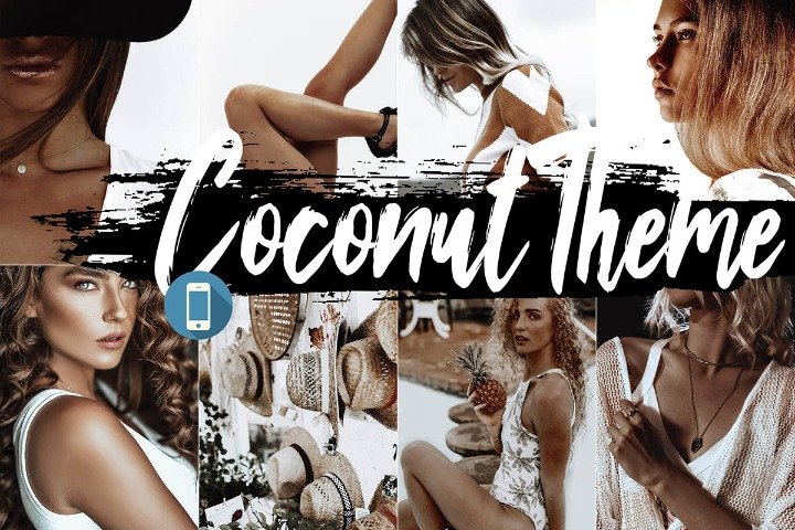 Coconut Mobile Lightroom Presets, cocoa filter white Adobe LR preset theme, photography modern Instagram