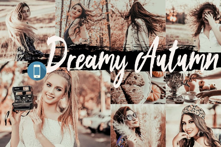 Dreamy Autumn Mobile Lightroom Presets, fall filter Adobe LR preset theme