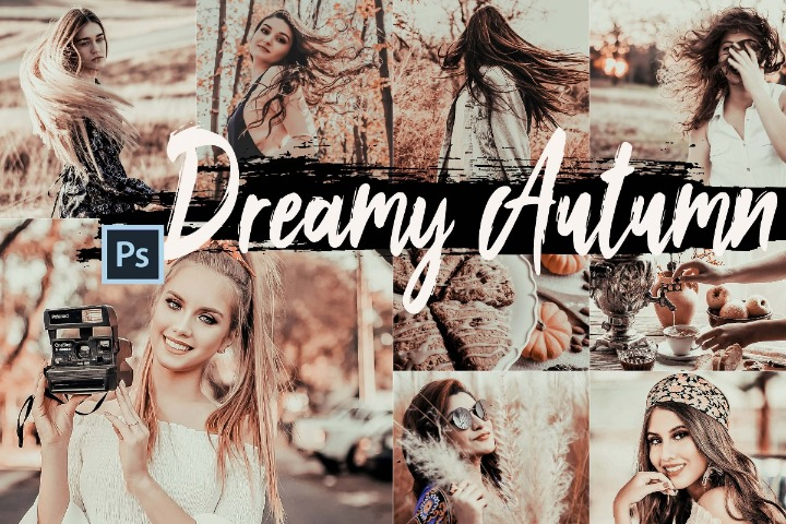Dreamy Autumn Photoshop Actions and ACR presets, fall filter ps action, lifestyle photography modern