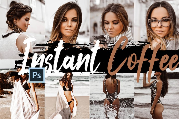 Instant Coffee Photoshop Actions, ACR presets, moody warm brown ps action