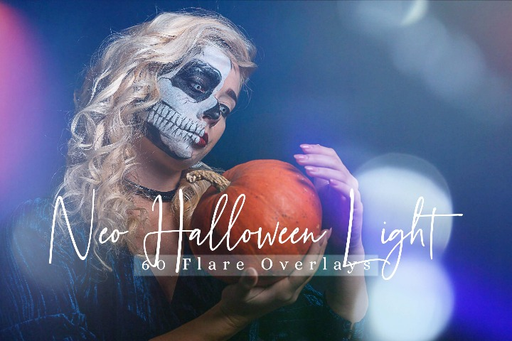 60 Neo Halloween lights Effect Photo Overlays, Lightleak Sparkles effects digital backdrop, Professional bokeh
