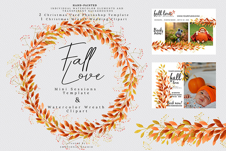 Fall Love Mini Sessions Template and Watercolor Wreath Clipart high res png, painting floral illustration