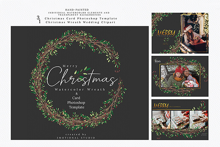 Christmas Photo Card Template and Watercolor Wreath Clipart high res png, painting floral illustration decoration gold clip art Gift Card Postal digital package