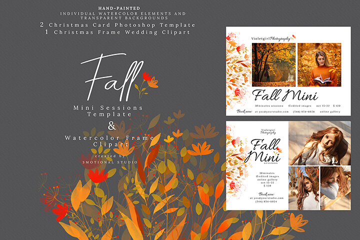 Fall Mini Sessions Template and Watercolor Frame Clipart high res png