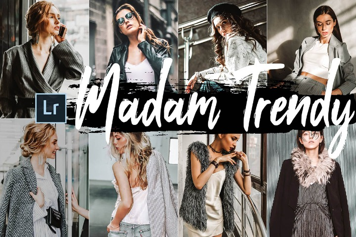 Madam Trendy Desktop Lightroom Presets and ACR preset, classic photography portrait LR theme