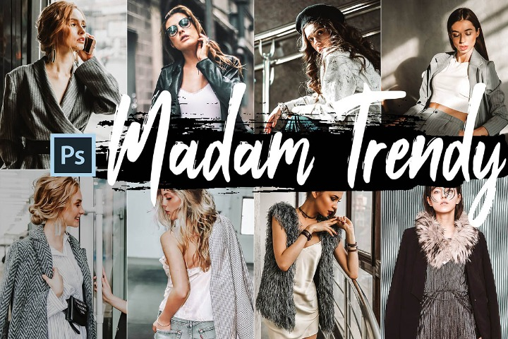 Madam Trendy Photoshop Actions, ACR presets