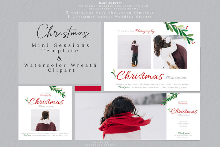 Christmas Mini Sessions Template, Holiday Mini Session Marketing Board, Photoshop Template, Watercolor Wreath Clipart high res png, paint floral illustration