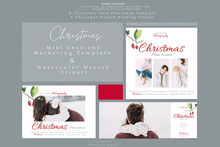 Holiday Mini Sessions Marketing Template and Watercolor Wreath Clipart high res png