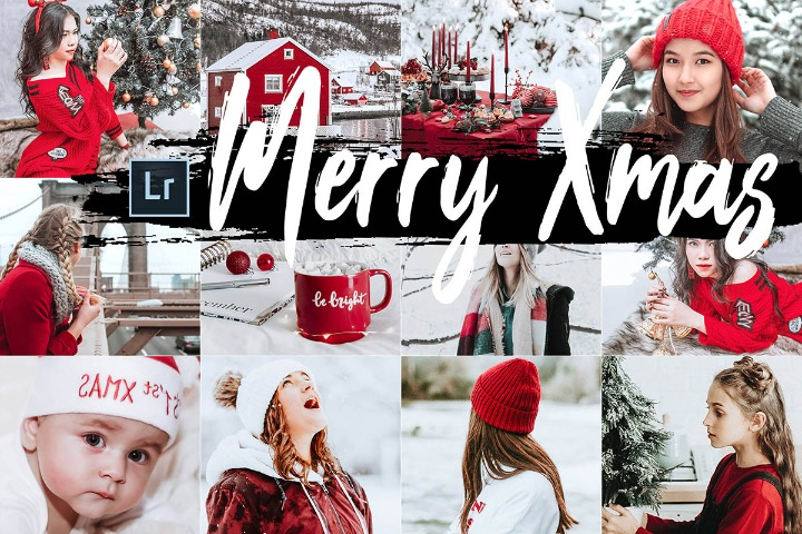 05 Merry Xmas Desktop Lightroom Presets and ACR preset, Christmas photography portrait LR theme adobe editing Instagram lifestyle