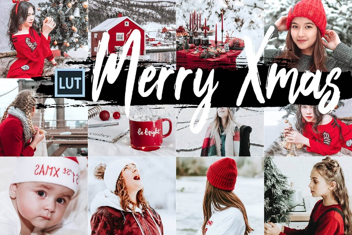 05 Merry Xmas LUT presets, Christmas photography LUTs preset, lifestyle modern Instagram editing blogger