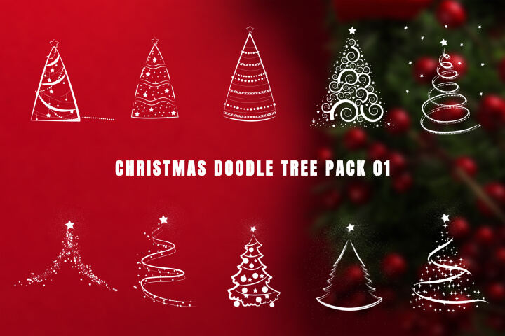 Christmas Doodle Tree Pack 01 MOGRT Motion Graphic Template Premiere Pro