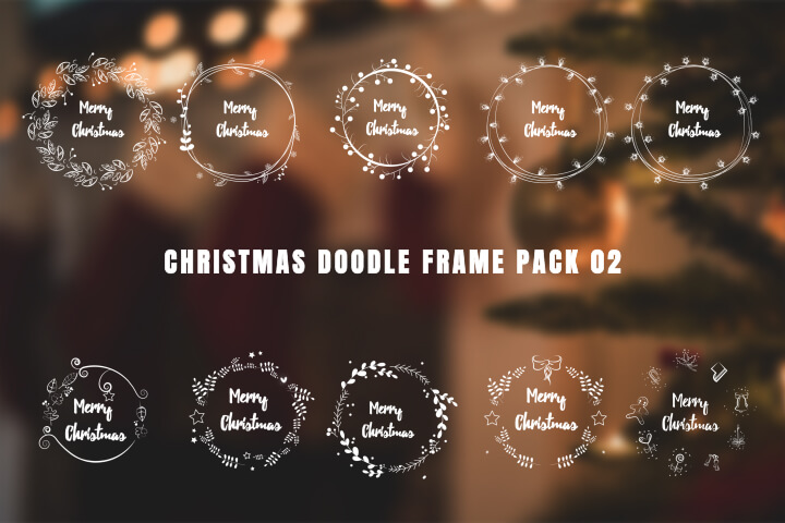 Christmas Doodle Frame Pack 02 adobe premire pro MOGRT Motion Graphic