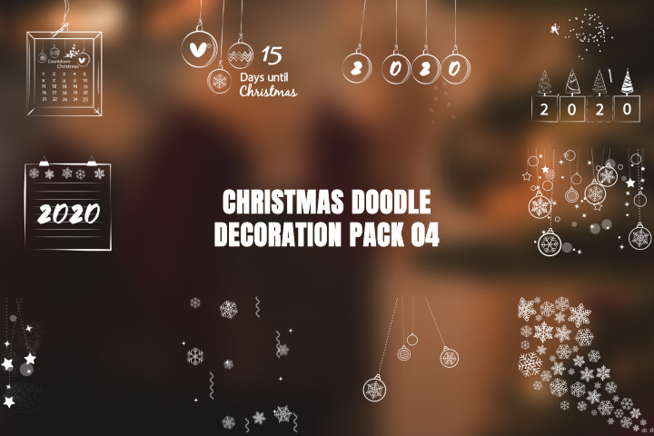 Christmas Doodle Decoration Pack 02 adobe premire pro MOGRT Motion Graphic