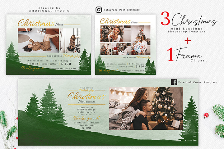 Christmas Mini Session Template, Holiday Mini Session Template, and Watercolor Wreath Clipart high res png, paint floral illustration