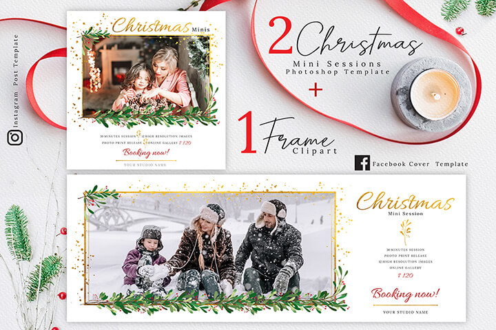 Christmas Mini Session Template, Holiday Mini Session Template, and Watercolor Wreath Clipart for photographers high res png, paint floral illustration