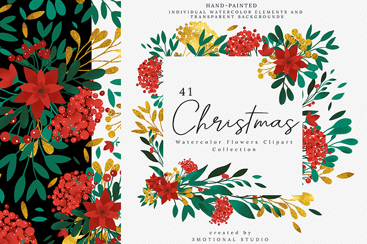 Christmas Watercolor Flowers Clipart Collection