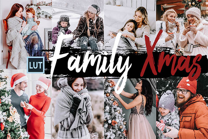Family Xmas LUT Presets, Christmas photography LUTs Presets, lifestyle modern Instagram editing blogger