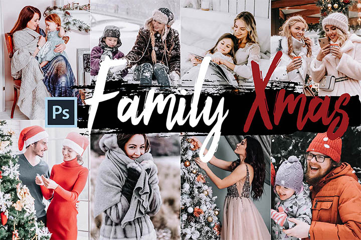 Family Xmas Photoshop Actions and ACR presets, Christmas photography ps action, lifestyle modern Instagram editing blogger
