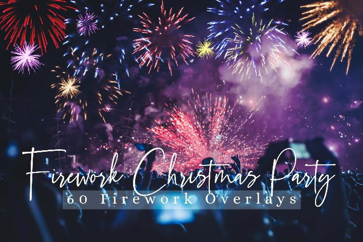 60 Firework Christmas Party Overlays, Wedding Firework Photo layer, Evening, Night Holiday Mini Sessions, Celebration Lighter Effect Christmas