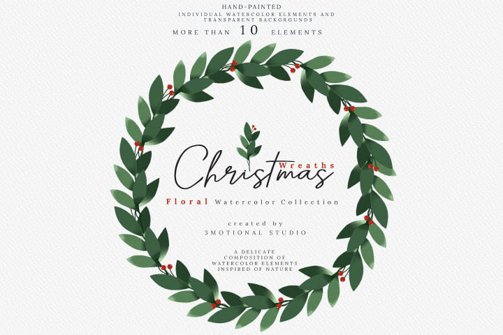 Christmas Watercolor Wreaths Collection high res png, floral illustration decoration gold clip art leaves digital package