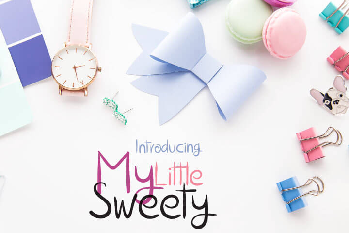 The My Little Sweety Font Digital Font Download for Commercial Use, Handwritten Typeface Font Design Open Type True Type