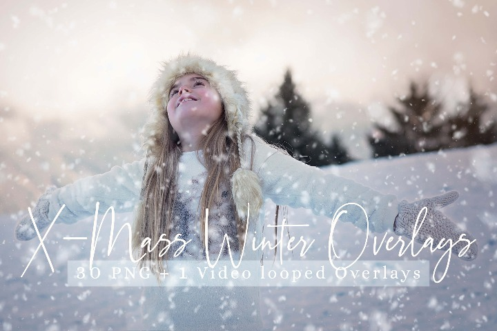 31 X-mass Winter Overlays, Snow overlay, winter overlay, falling snow overlay, Christmas overlay, photoshop, overlays, snow, easy, transparent, realistic, snowfall, Video looped Snow overlays