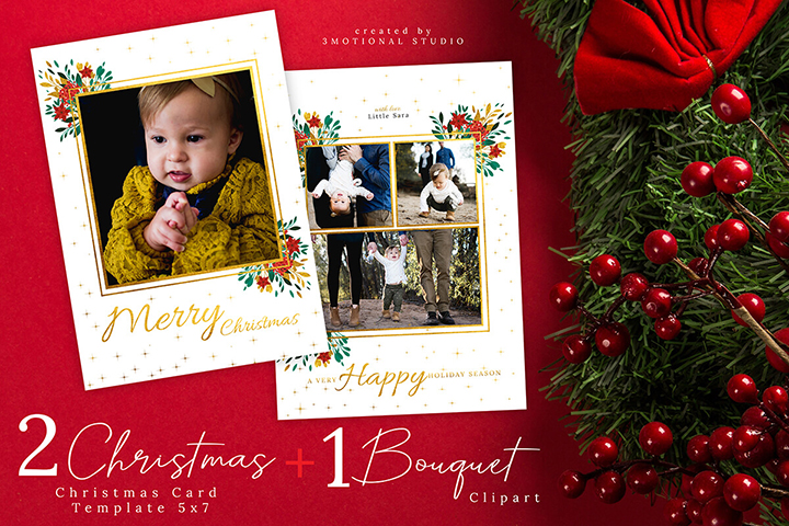 Christmas Card Template 5x7, Photoshop Template and Watercolor Wreath Clipart high res png, painting floral illustration