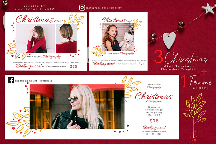Christmas Mini Sessions Template, Xmas Mini Session Marketing Board, Photoshop Template and Watercolor Wreath Clipart high res png, painting floral illustration