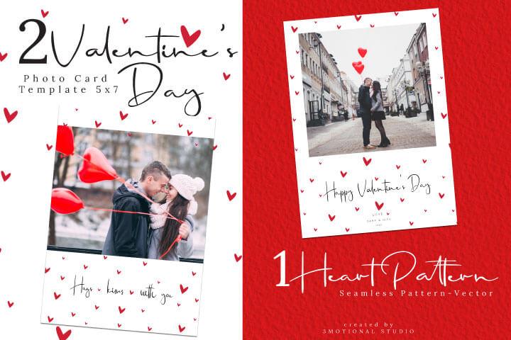 Valentine's Day Photo Card Template, Portrait Valentine Card Printable, Minimal Valentine Card with Photo, eps heart pattern