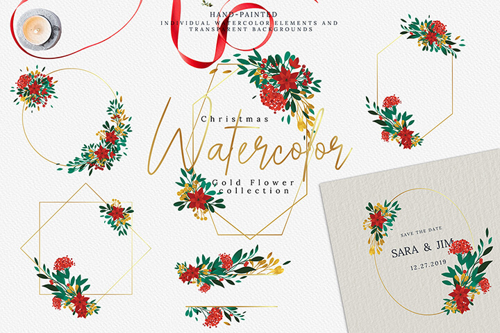 Christmas Watercolor Gold Flower collection high res png, floral illustration decoration gold clip art leaves digital package