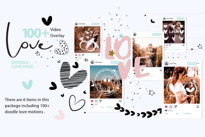 Doodle Love Motion Graphic Template Premiere Pro MOGRT