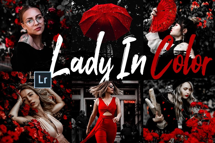 Lady In Color Desktop Lightroom Presets and ACR preset, Women in Red photography portrait, B&W LR theme adobe editing Instagram lifestyle