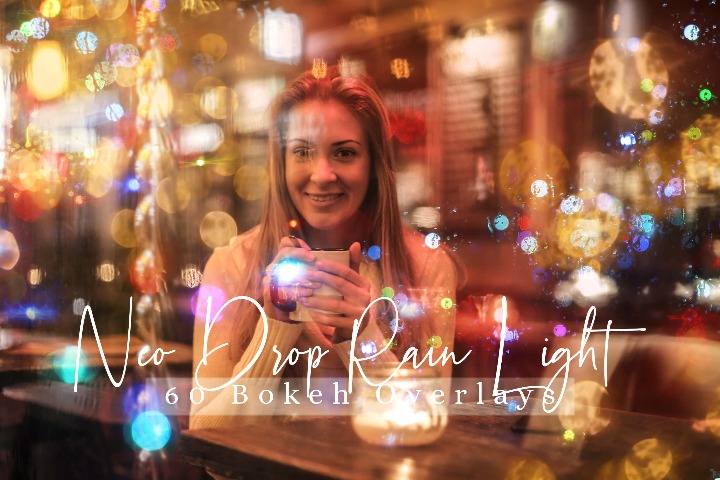 Drop Rain lights Effect Photo Overlays, street Overlay Sparkles effects digital backdrop, Professional bokeh overlay