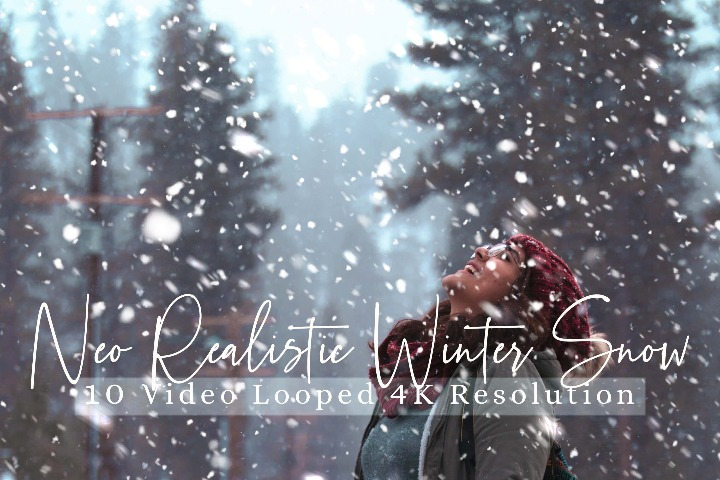 10 Neo Realistic Winter Snow Overlays, Winter Overlays Particles effects digital backdrop, Professional Snow overlay