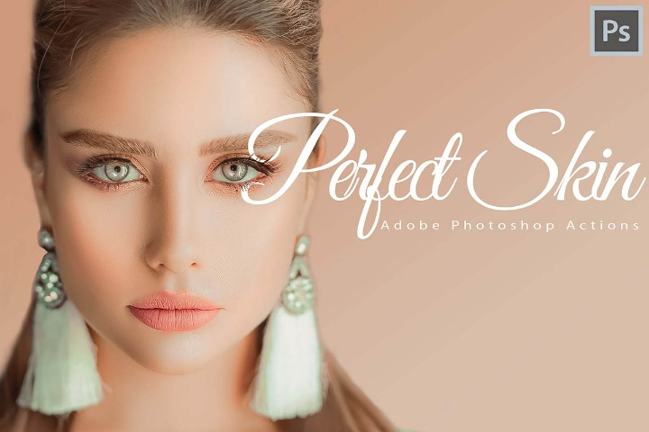 Perfect Skin Photoshop Actions and ACR presets, skin retouch theme ps action, lifestyle white modern photography scheme blogger selfie