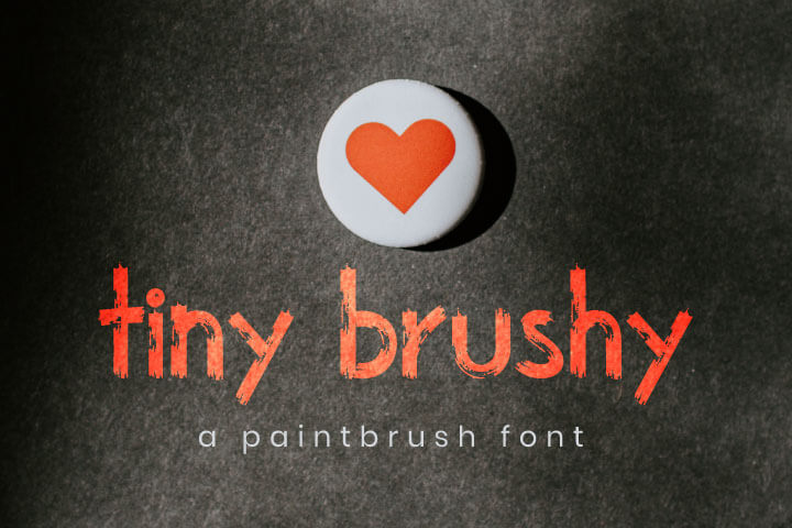 The Tiny brushy Font Digital Font, paintbrush bold SVG Brush Font Design True Type
