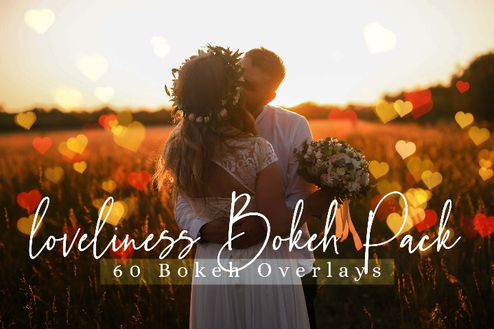 loveliness Bokeh Pack lights Effect Photo Overlays, Love Overlay Sparkles effects digital backdrop, Professional bokeh overlay