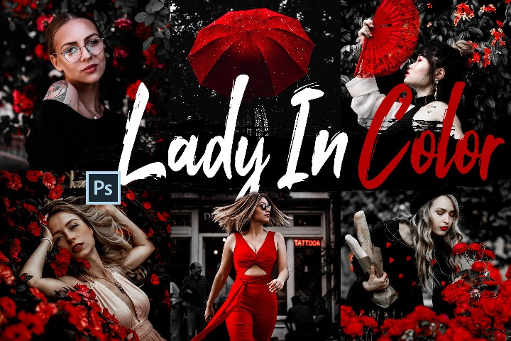 Lady In Color Photoshop Actions and ACR presets, woman in red photography, B&W ps action, lifestyle warm modern Instagram editing blogger