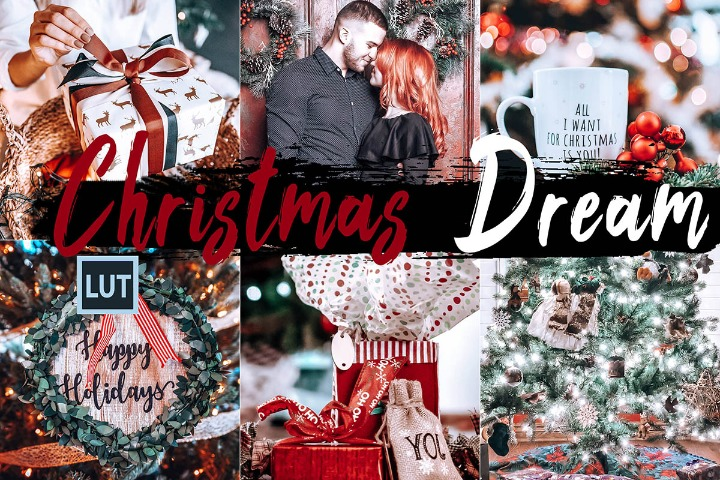 Christmas Dream LUT presets, Xmas gift photography ps action, lifestyle modern Instagram editing blogger