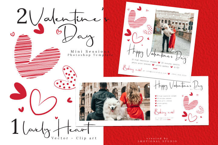 Valentine's Day Marketing Template, 5X5 Valentines Mini Session, Photography Marketing for Photographers, svg eps heart illustration