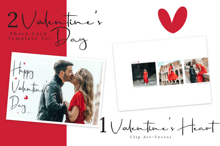 Valentine's Day Photo Card Template, Love Always, For Photographers, Photoshop Template, svg eps heart illustration
