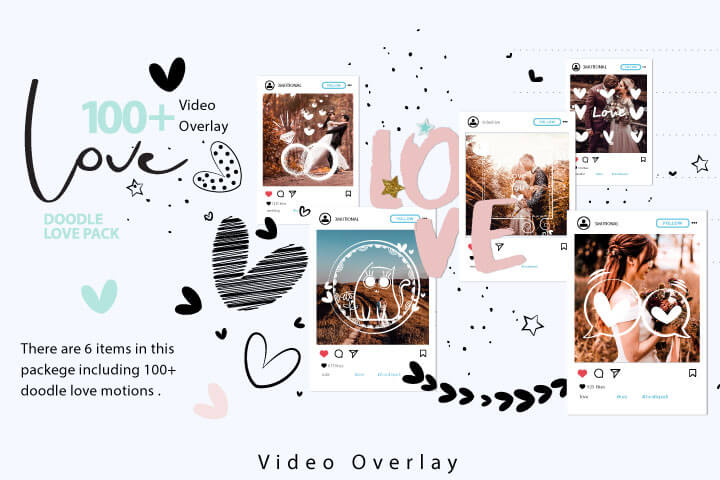 Animated Doodle Love Pack Video Overlays, Hand Drawn Paint Valentine Day Wedding Decor Sketch Heart Digital Gift Photoshop Overlay